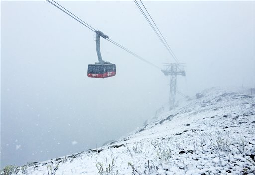 This Monday, July 27, 2015 photo provided by Jackson Hole Mountain Resort shows high-elevation snowfall during a cold front at Jackson Hole Mountain Resort in Teton County, Wyo. The middle of summer looked like the middle of winter in the mountains of western Wyoming. A cold front that moved through Monday afternoon dumped heavy rain on the valleys and snow above 9,000 feet. (Peter Landsman/Jackson Hole Mountain Resort via AP)